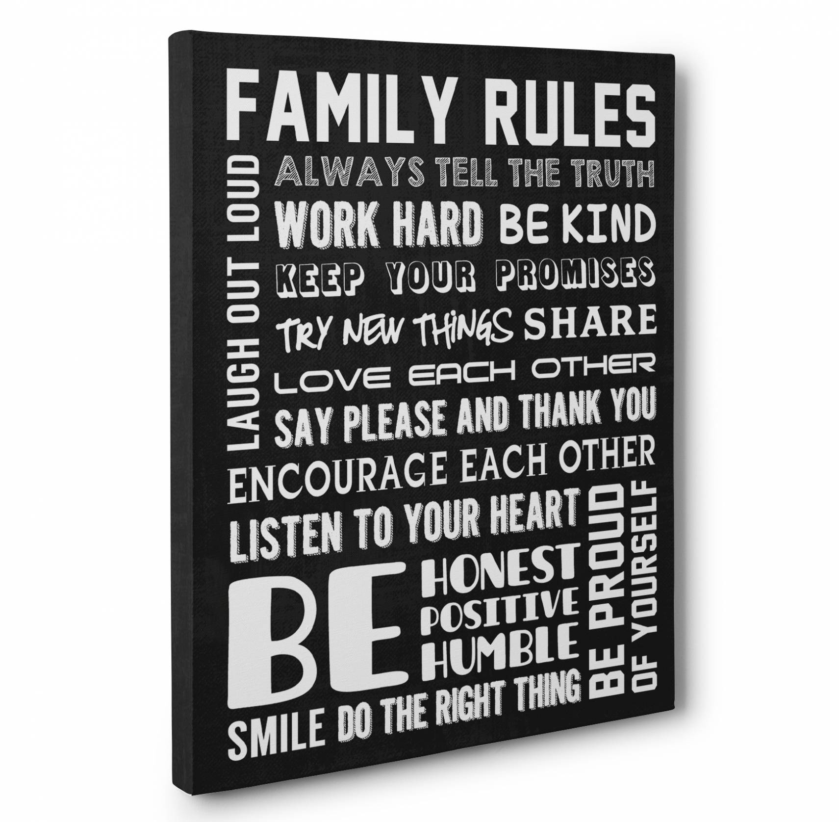 17 Photo Of Family Rules Wall Art In Newest Canvas Wall Art Family Rules (View 11 of 15)