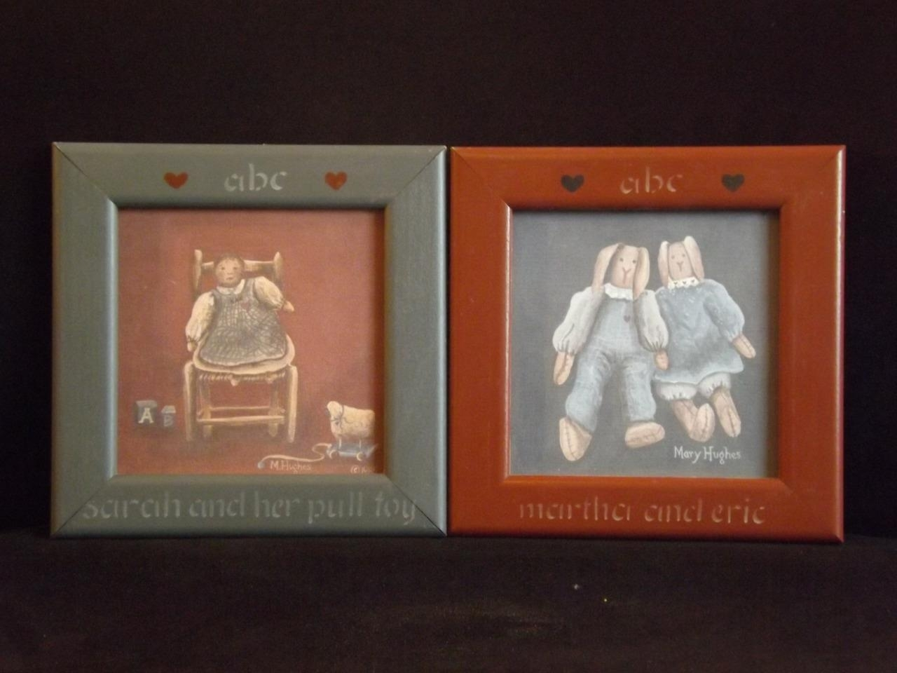2 Mary Hughes Vintage Dolls Framed Folk Art Prints 10X10 Within Current Framed Folk Art Prints (Gallery 12 of 15)
