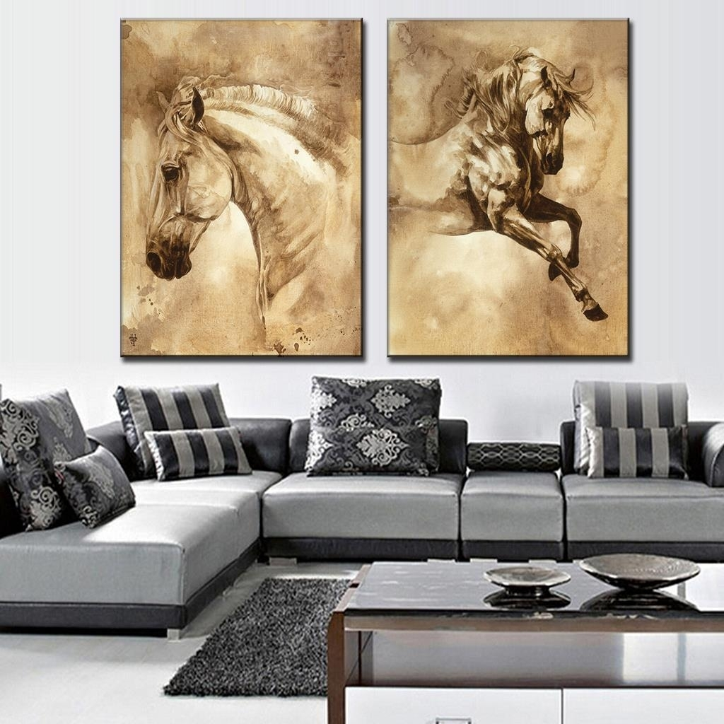 2 Pcs/set Modern European Oil Painting Horse On Canvas Wall Art In Most Popular Queensland Canvas Wall Art (View 2 of 15)