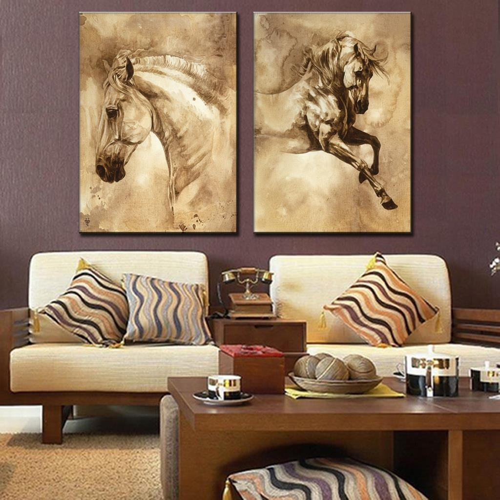 2 Pcs/set Modern European Oil Painting Horse On Canvas Wall Art Regarding Newest Ku Canvas Wall Art (Gallery 9 of 15)