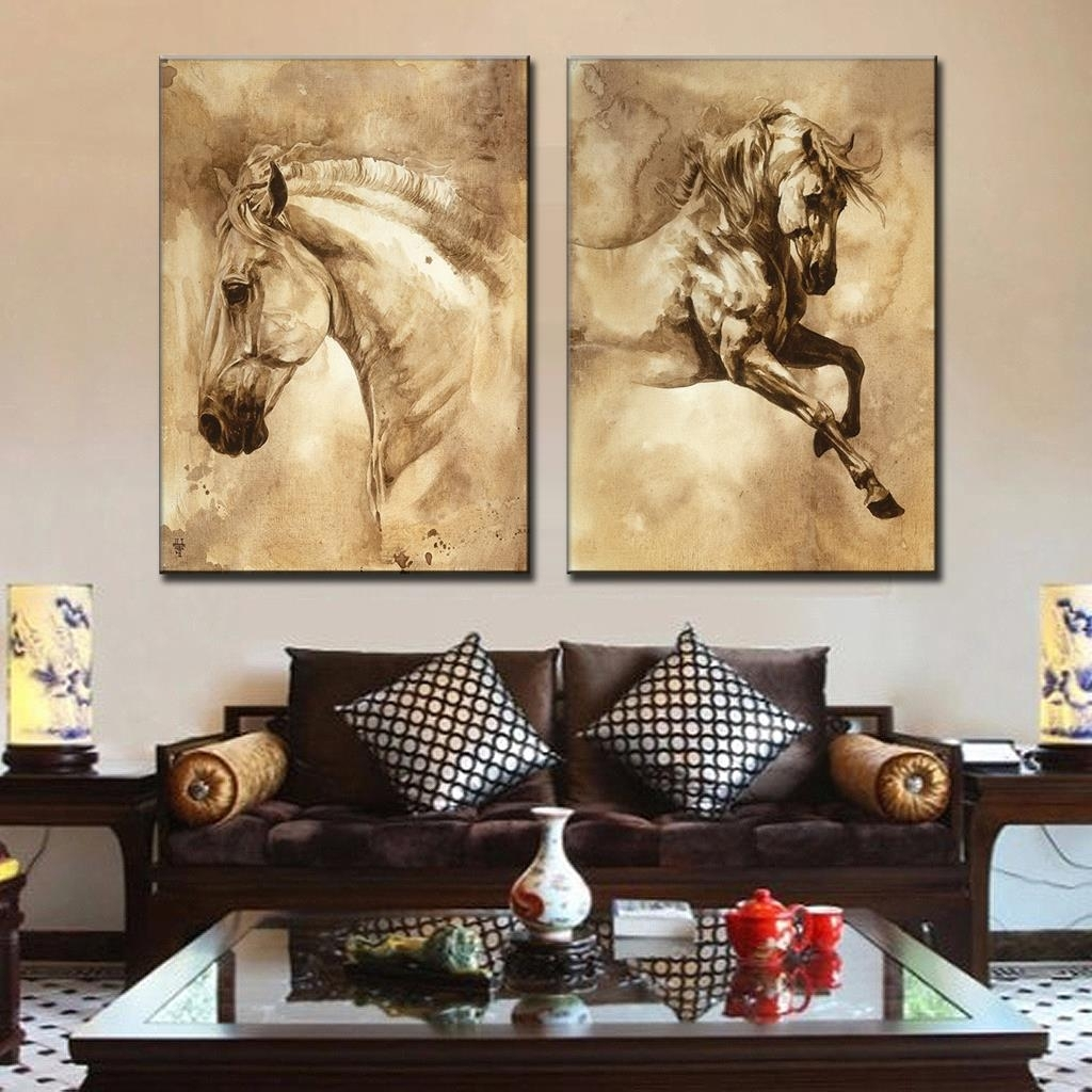 2 Pcs/set Modern European Oil Painting Horse On Canvas Wall Art Within Most Popular Queensland Canvas Wall Art (Gallery 5 of 15)