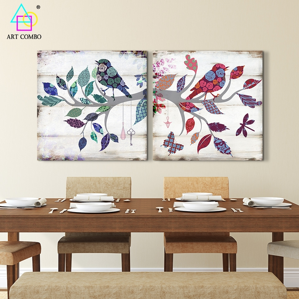 2 Pieces Canvas Painting Bird Standing On The Branch Artwork Home With Current Fabric Bird Wall Art (View 1 of 15)