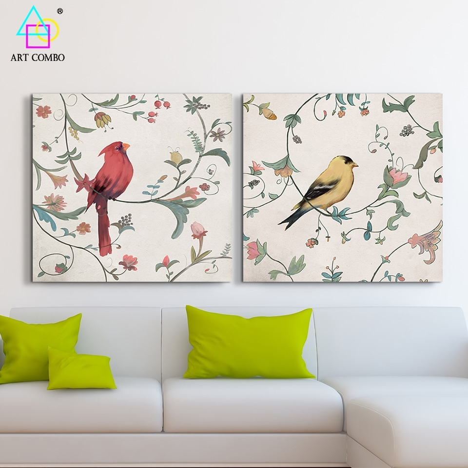2 Pieces Canvas Painting Bird Standing On The Branch Artwork Home Within Newest Fabric Bird Wall Art (View 2 of 15)