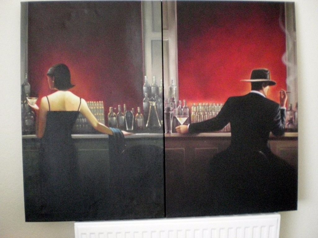 "2 X Brent Lynch Oil On Canvas Art Works ""cigar Bar"" & ""evening Within Most Recent Gumtree Canvas Wall Art (View 12 of 15)"