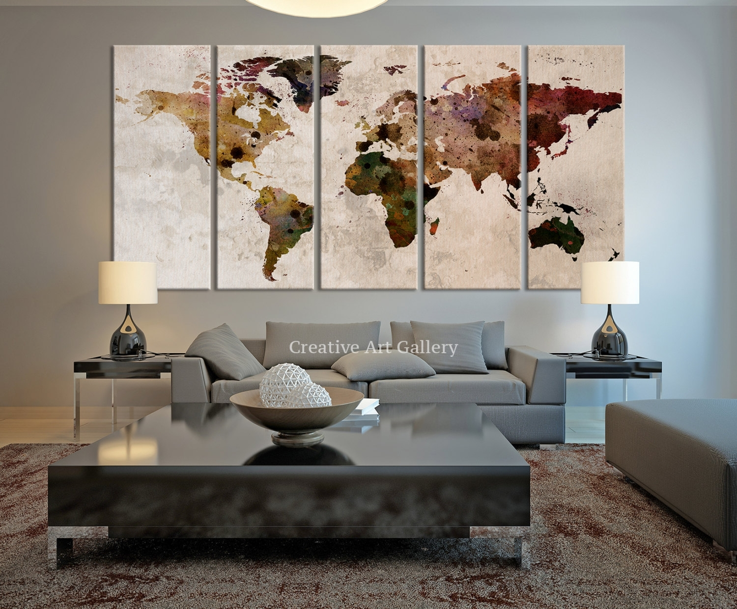 20+ Rustic Wall Decor Ideas To Help You Add Rustic Beauty To Your Within Recent Maps Canvas Wall Art (View 9 of 15)