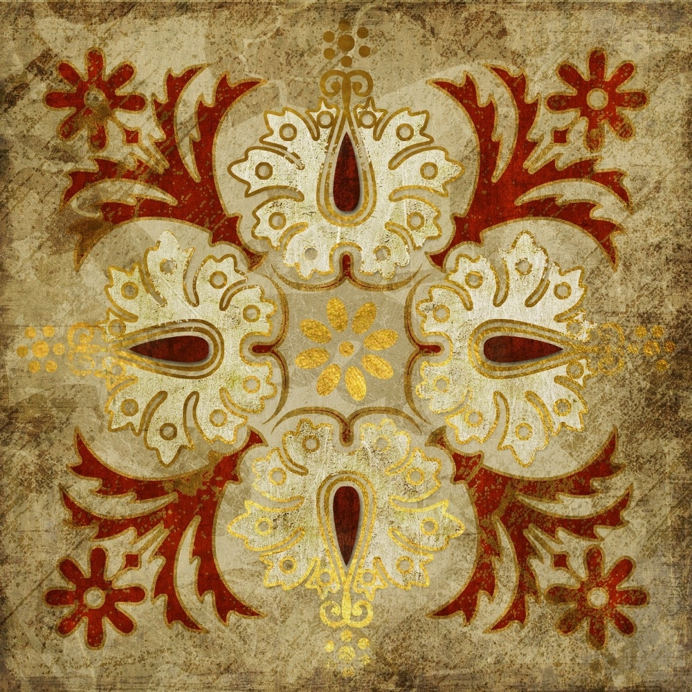 2015 India Gold Retro Ethnic Patterns Canvas Wall Art Home For Most Current Ethnic Canvas Wall Art (View 1 of 15)