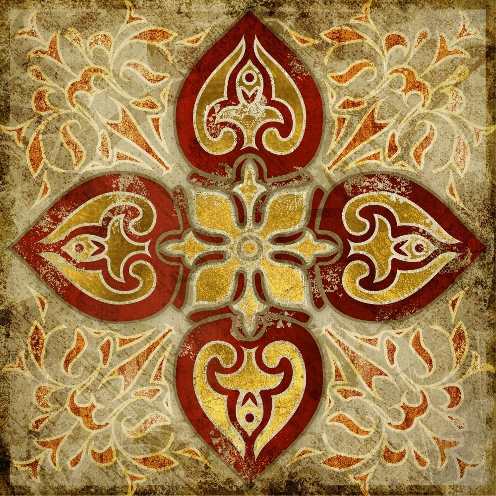 2015 India Gold Retro Ethnic Patterns Canvas Wall Art Home With Regard To Most Current Ethnic Canvas Wall Art (View 2 of 15)