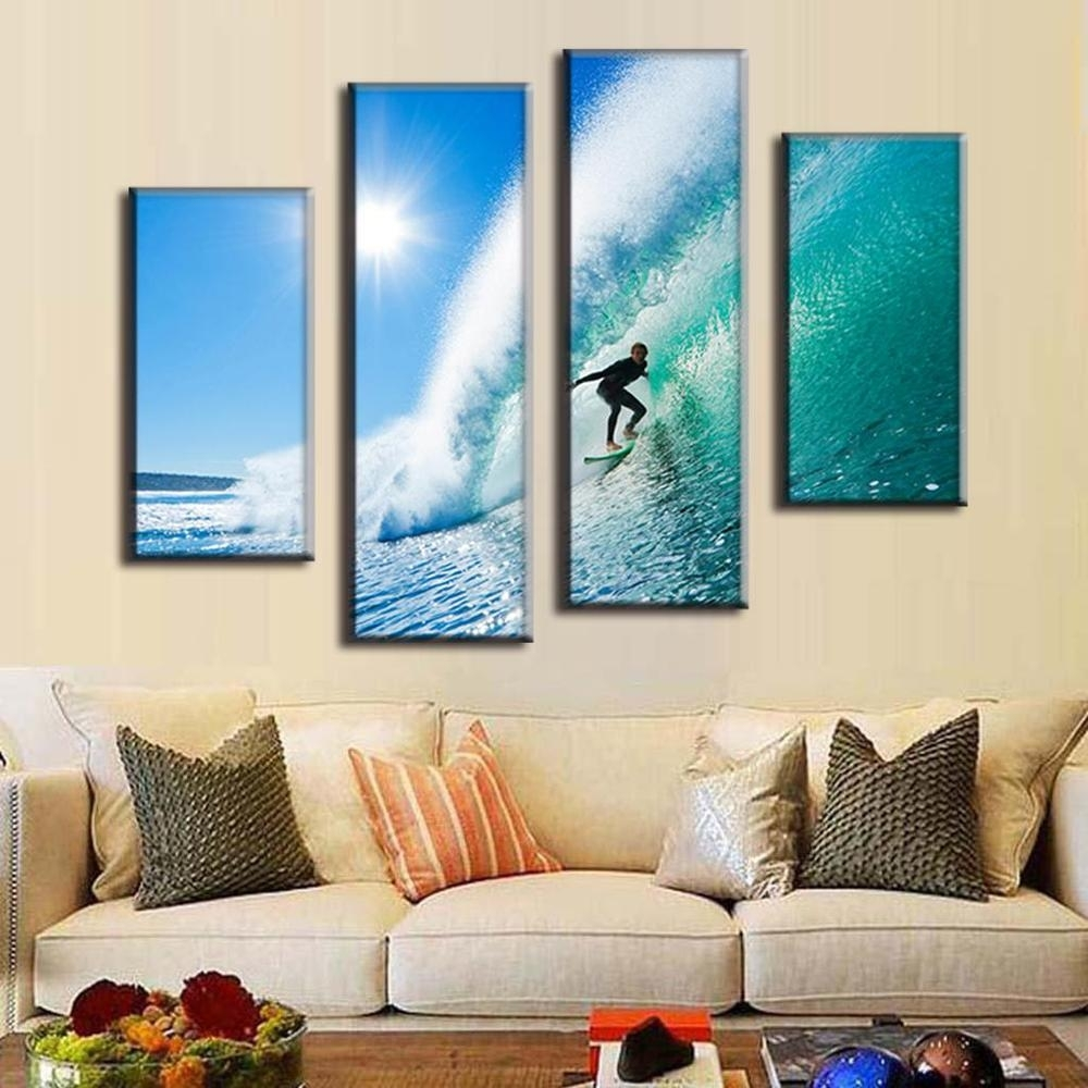 2017 4 Panel Modern Seascape Canvas Prints Surfing In Hawaii Wall With Most Recent Hawaii Canvas Wall Art (View 1 of 15)