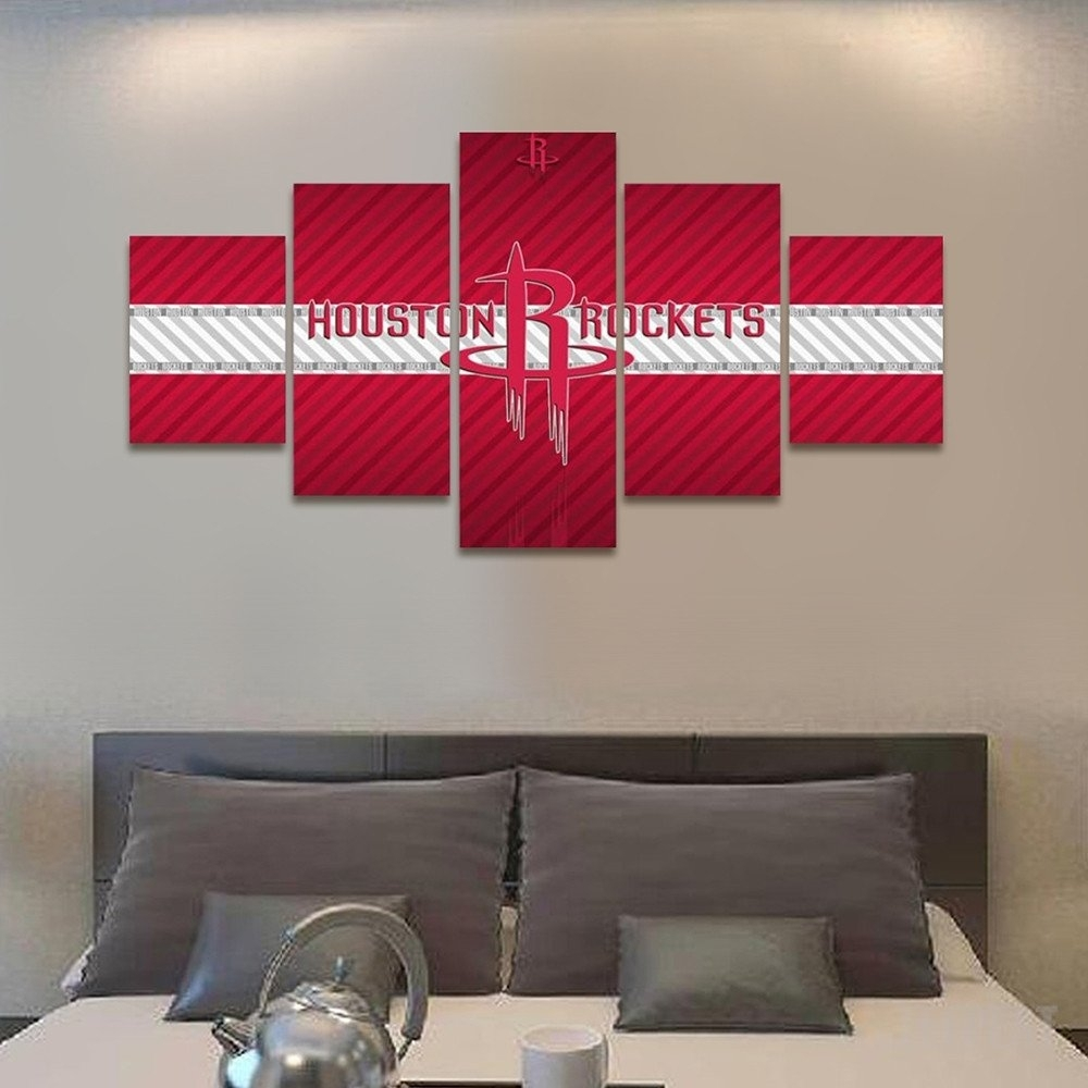 2017 Houston Rockets Banner – 5 Piece Canvas Painting | Art Decor Throughout Recent Houston Canvas Wall Art (View 6 of 15)