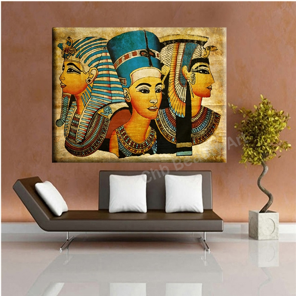 2017 Pharaoh Egypt Canvas Art Modern Abstract Oil Painting Wall Within Recent Egyptian Canvas Wall Art (View 1 of 15)