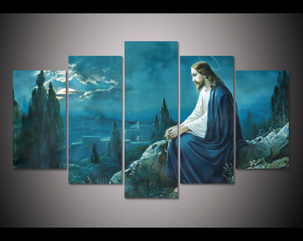 2017 Promotion 5 Pcs Canvas Wall Art Prayer Jesus Gethsemane With Regard To Most Recently Released Jesus Canvas Wall Art (View 3 of 15)