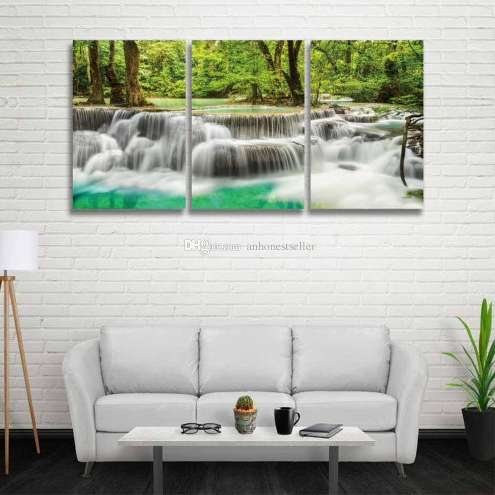2018 3 Panel Set Hd Prints Canvas Wall Art Waterfall Landscape In Recent Bedroom Canvas Wall Art (View 1 of 15)