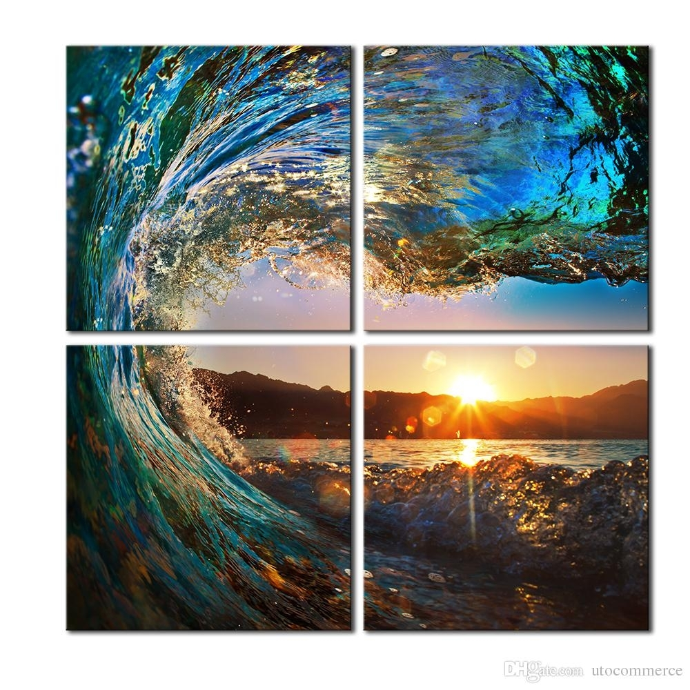2018 4 Panels Hd Blue Sea Wave Seascape Canvas Painting Home Decor For Most Recent Landscape Canvas Wall Art (View 1 of 15)