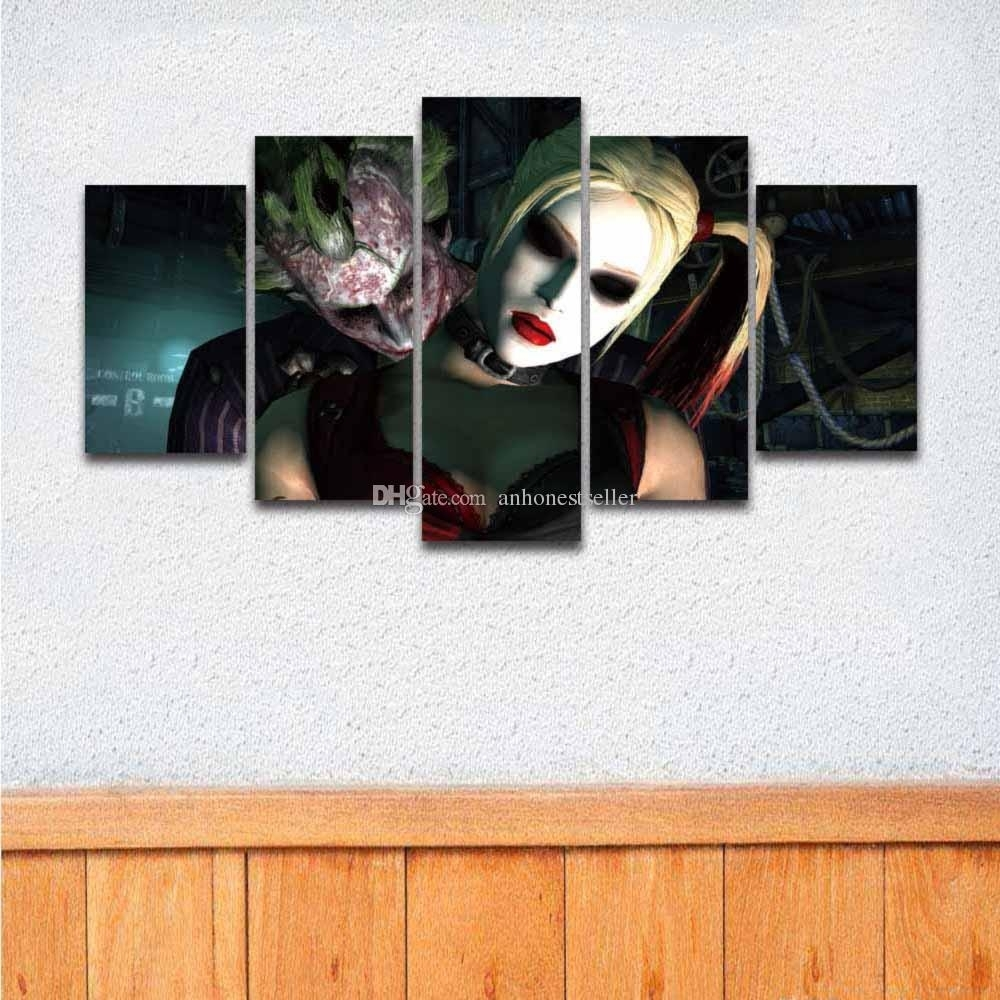 2018 5 Panel Canvas Wall Art Prints Joker Painting For Wall Decor Pertaining To Newest Framed Canvas Art Prints (View 1 of 15)