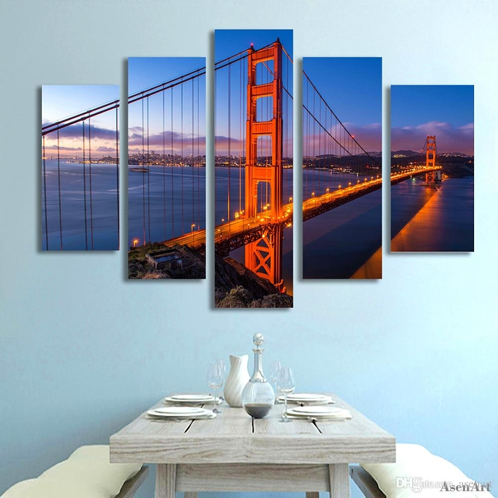 2018 5 Panel Golden Gate Bridge Picture Wall Art Canvas Prints For Best And Newest Golden Gate Bridge Canvas Wall Art (View 1 of 15)