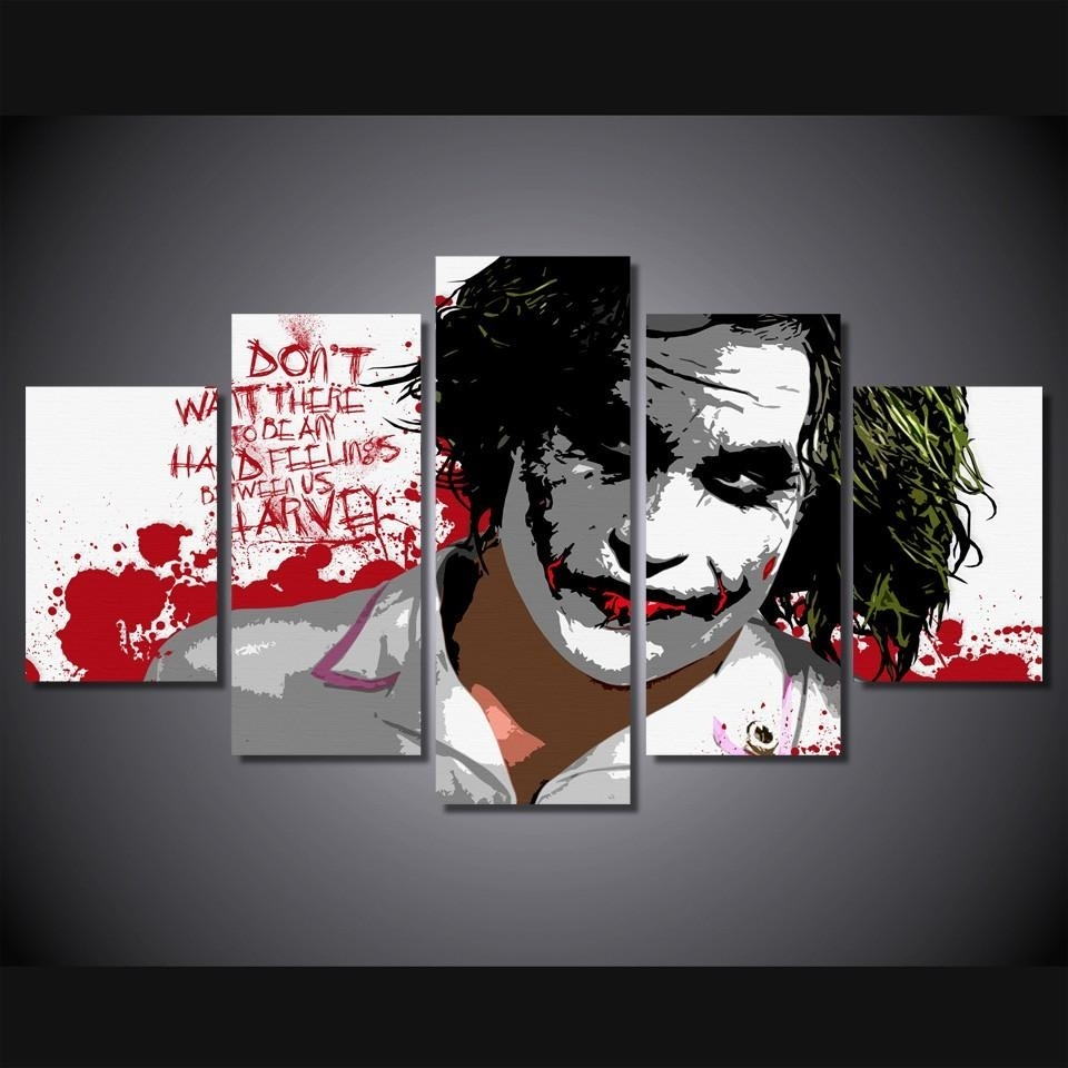 2018 5 Panel Hd Printed The Joker Digital Art Painting On Canvas In Most Up To Date Joker Canvas Wall Art (View 7 of 15)