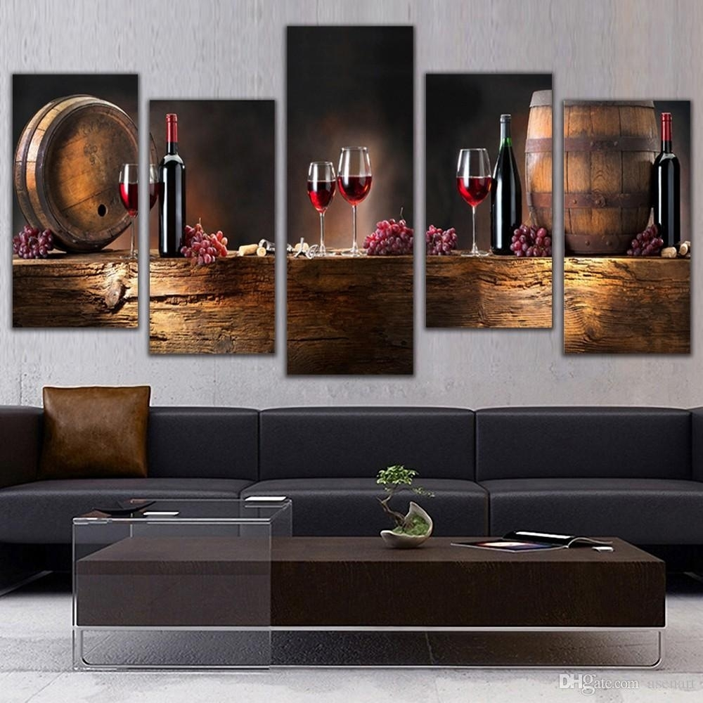 2018 5 Panel Wall Art Fruit Grape Red Wine Glass Picture Art For With Recent Kitchen Canvas Wall Art (Gallery 8 of 15)
