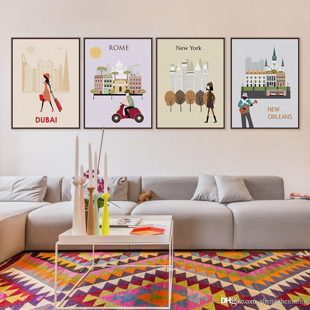 2018 7 Modern Abstract World City Travel Bedroom Wall Art Pertaining To 2018 Canvas Wall Art Of Rome (View 1 of 15)
