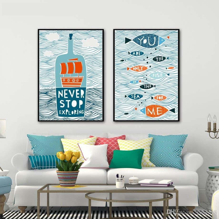 2018 Abstract Canvas Painting Nordic Fish Sailing Letter Wall Art Throughout Most Recent Letters Canvas Wall Art (View 1 of 15)