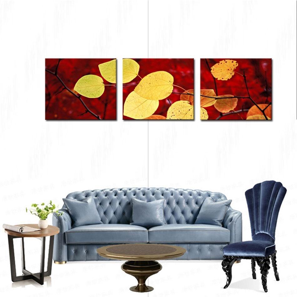 2018 Art Fallen Leaves Canvas Prints Modern Wall Art Paintings With Recent Leaves Canvas Wall Art (Gallery 12 of 15)