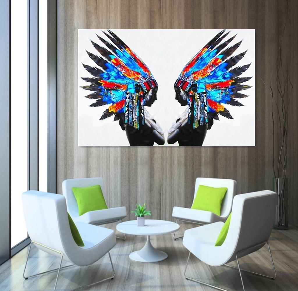 2018 Blue Feather Portrait Painting Native American Indians Oil Pertaining To 2018 Portrait Canvas Wall Art (View 2 of 15)
