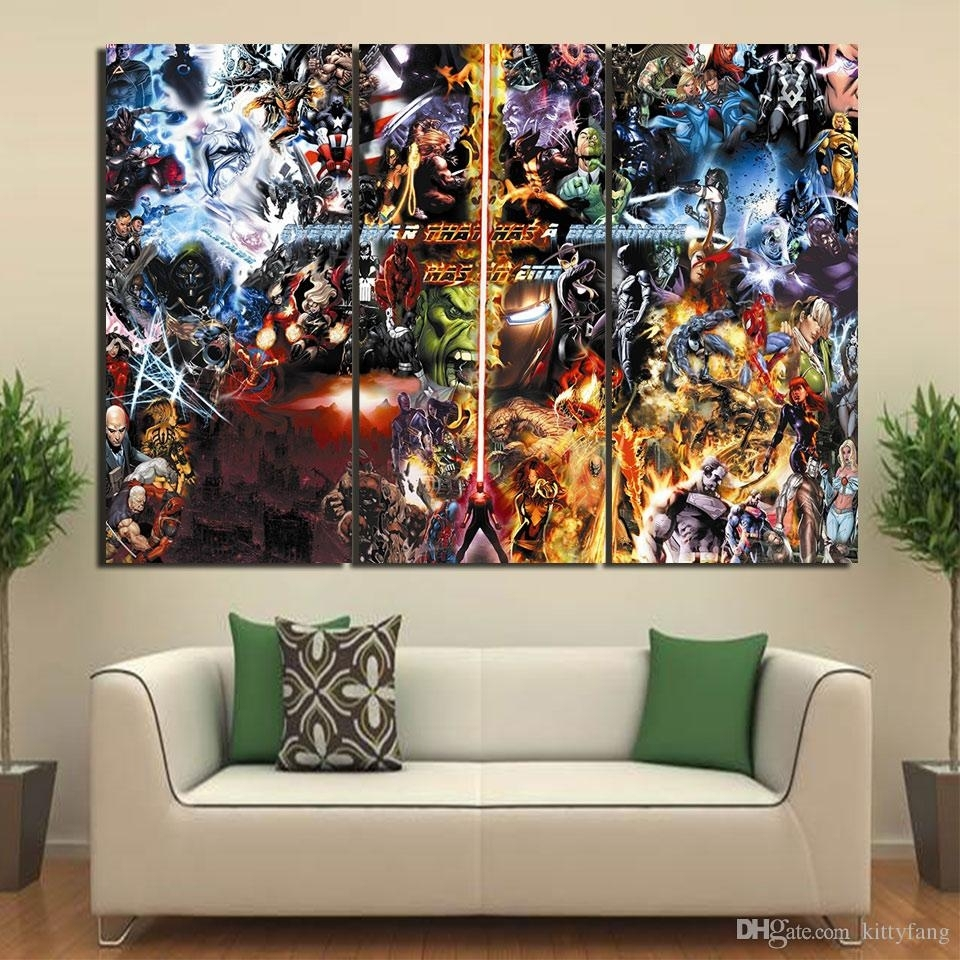 2018 Canvas Art Final War Marvel Poster Hd Printed Wall Art Home Pertaining To Most Up To Date Marvel Canvas Wall Art (Gallery 3 of 15)