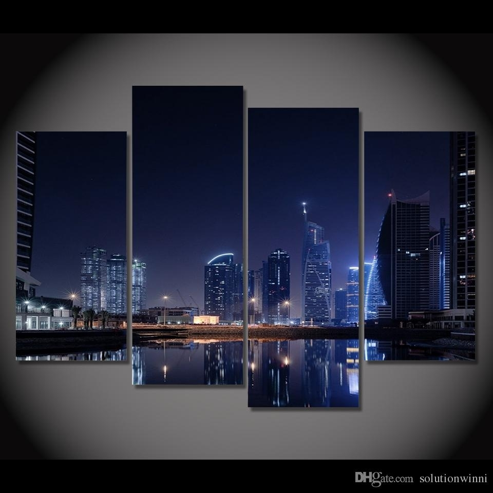 2018 Canvas Painting Canvas Art Dubai City Lights Night Hd Printed For Most Recently Released Dubai Canvas Wall Art (View 1 of 15)