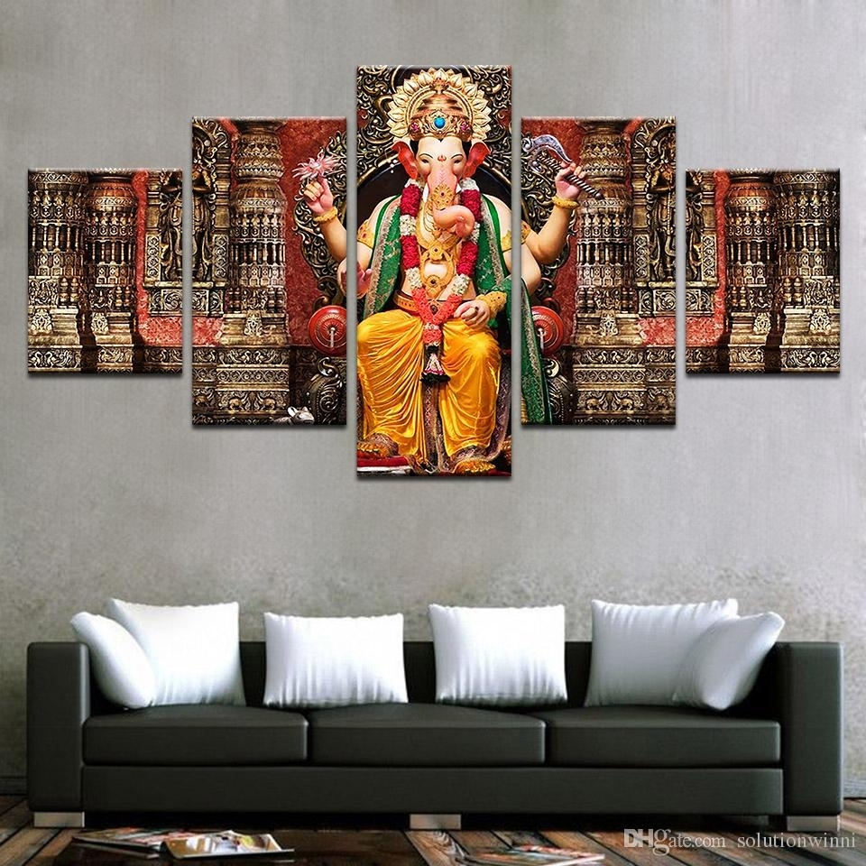 2018 Canvas Pictures Hd Prints Wall Art India Religion Elephant With Regard To Most Current Religious Canvas Wall Art (Gallery 6 of 15)