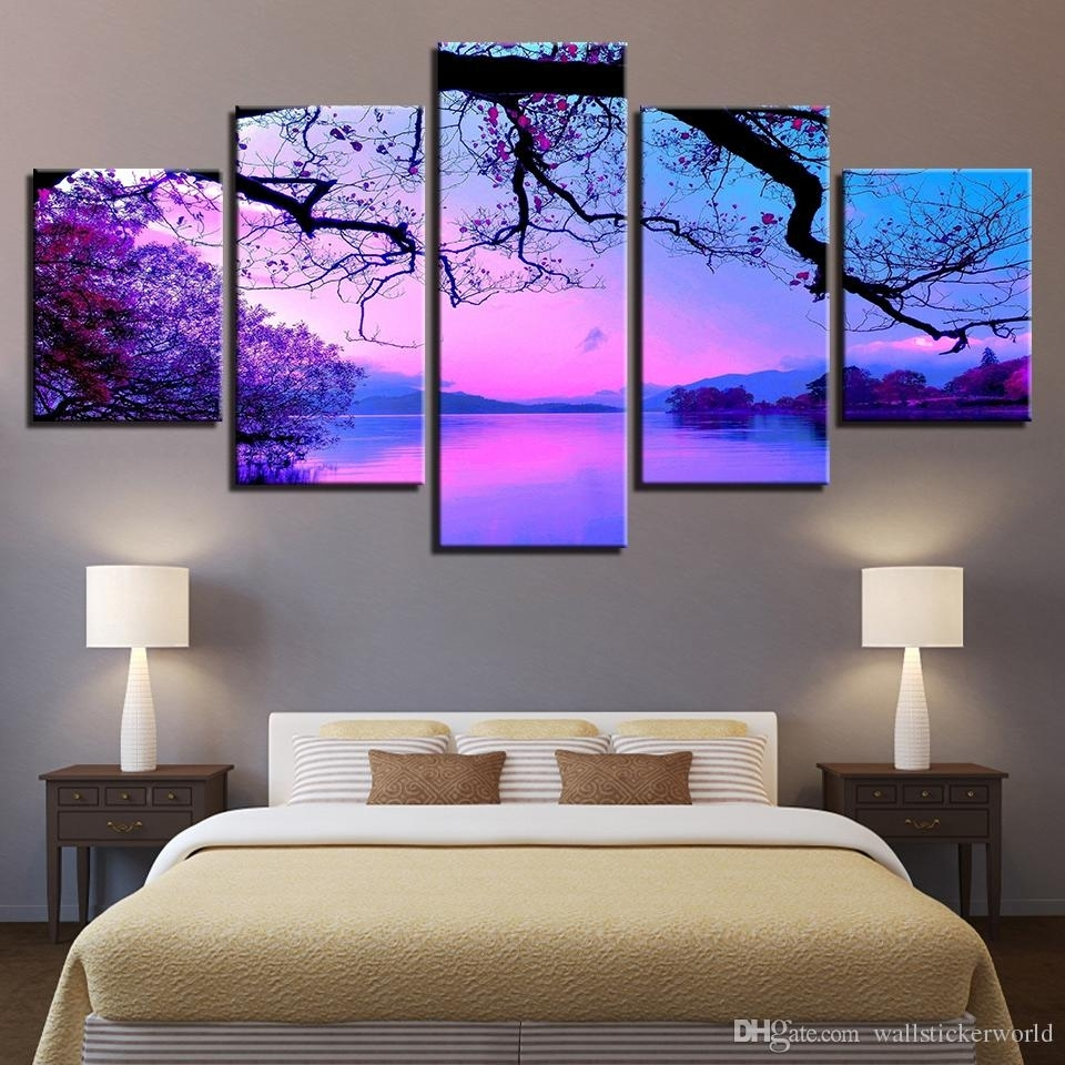 2018 Canvas Wall Art Paintings Living Room Home Decor Framework Within Most Up To Date Canvas Wall Art In Purple (Gallery 13 of 15)