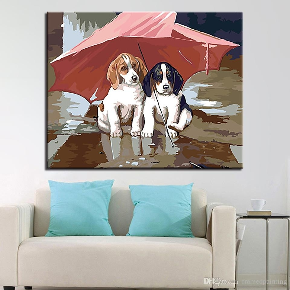 2018 Diy Oil Paintingnumbers Kits Coloring Handpainted Under Pertaining To 2017 Dogs Canvas Wall Art (View 2 of 15)