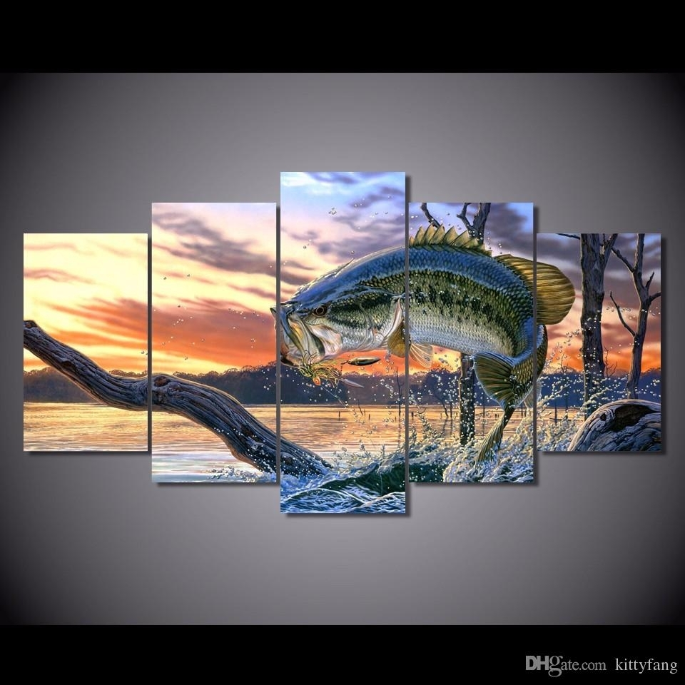 2018 Framed Hd Printed Bass Jumping Fish Sunset Picture Wall Art Throughout Latest Bass Framed Art Prints (View 1 of 15)