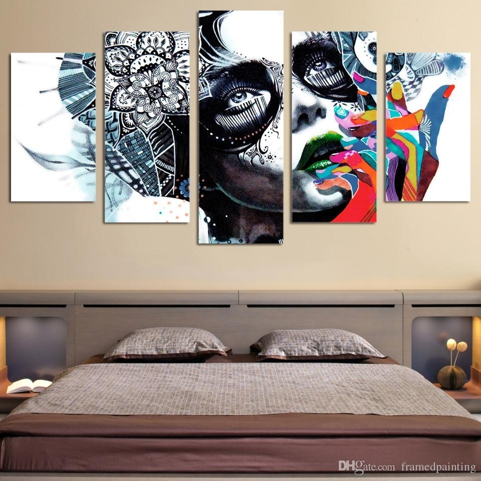 2018 Framed Hd Printed Canvas Prints Wall Art Abstract Girl Mask Pertaining To Most Recently Released Girl Canvas Wall Art (Gallery 5 of 15)