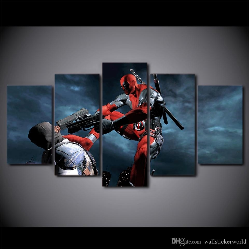 2018 Framed Hd Printed Deadpool Movie Game Wall Canvas Print With Regard To 2017 Movies Canvas Wall Art (Gallery 15 of 15)