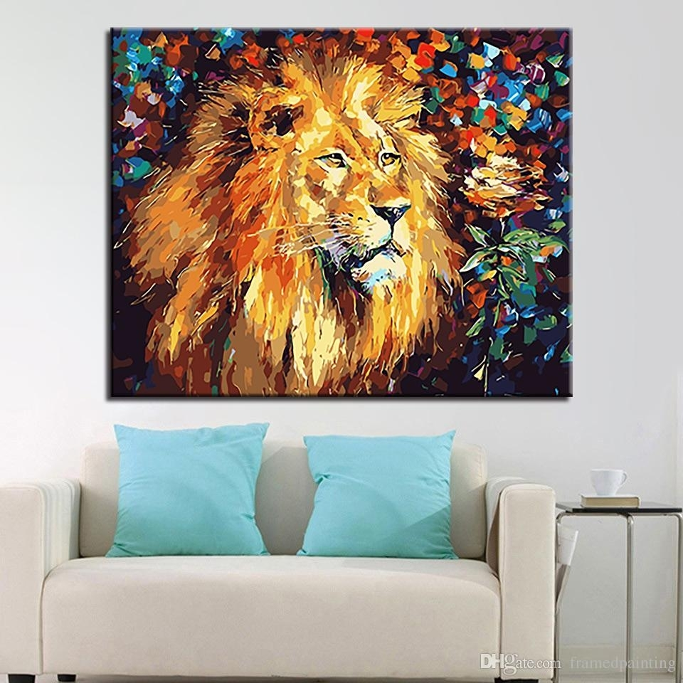 2018 Framework Diy Oil Paintingnumbers Kits Coloring Lion King Intended For Current Lion King Canvas Wall Art (View 5 of 15)