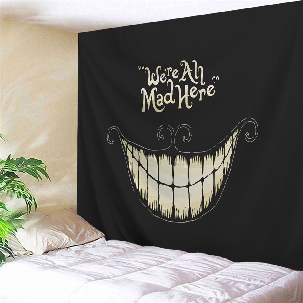 2018 Halloween Funny Smile Printed Wall Art Decor Tapestry Black W With Regard To Most Current Halloween Led Canvas Wall Art (View 1 of 15)