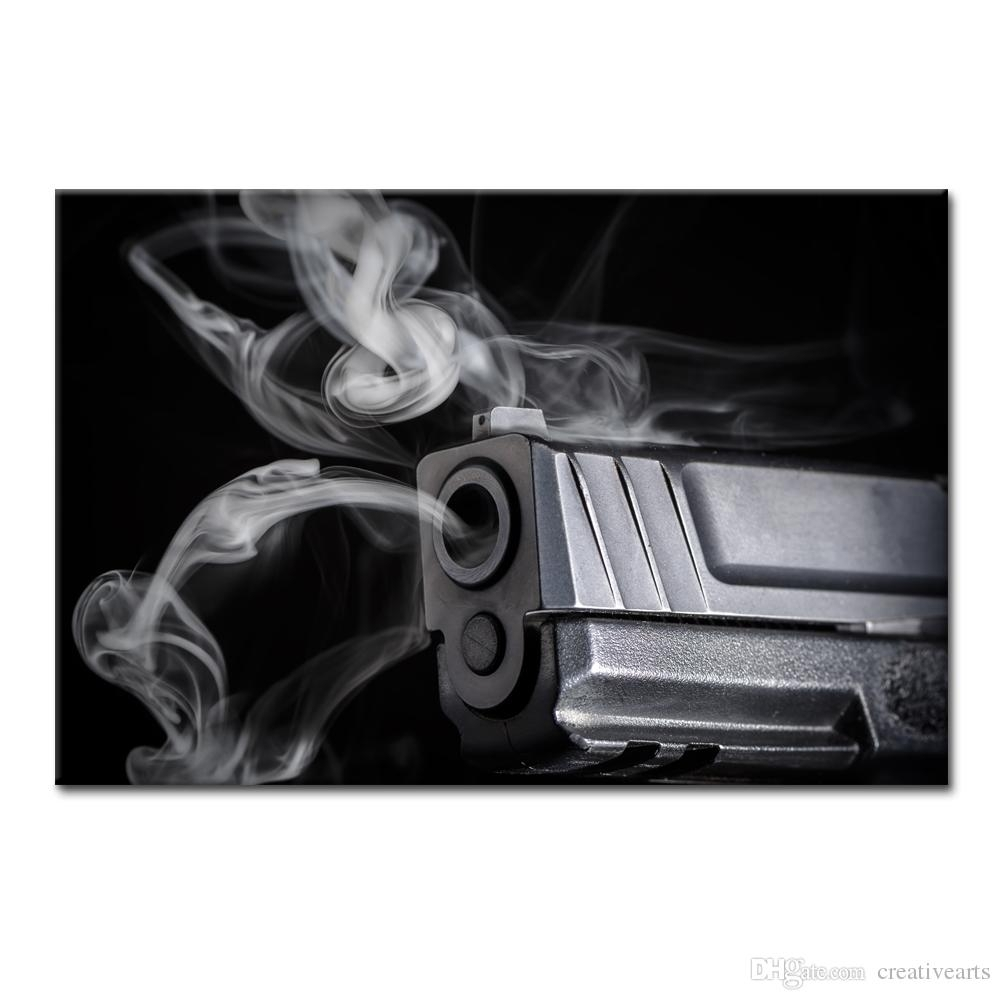 2018 Hd Photo Canvas Art Prints Black And White Photo Smoking Gun Within Best And Newest Black And White Photography Canvas Wall Art (Gallery 13 of 15)