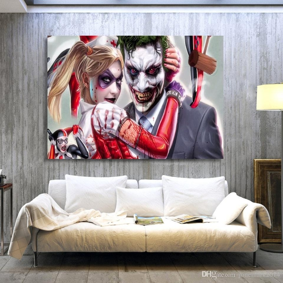2018 Joker Harley Quinn Comics Wall Art Canvas Pictures For Living With Regard To Most Current Joker Canvas Wall Art (View 4 of 15)