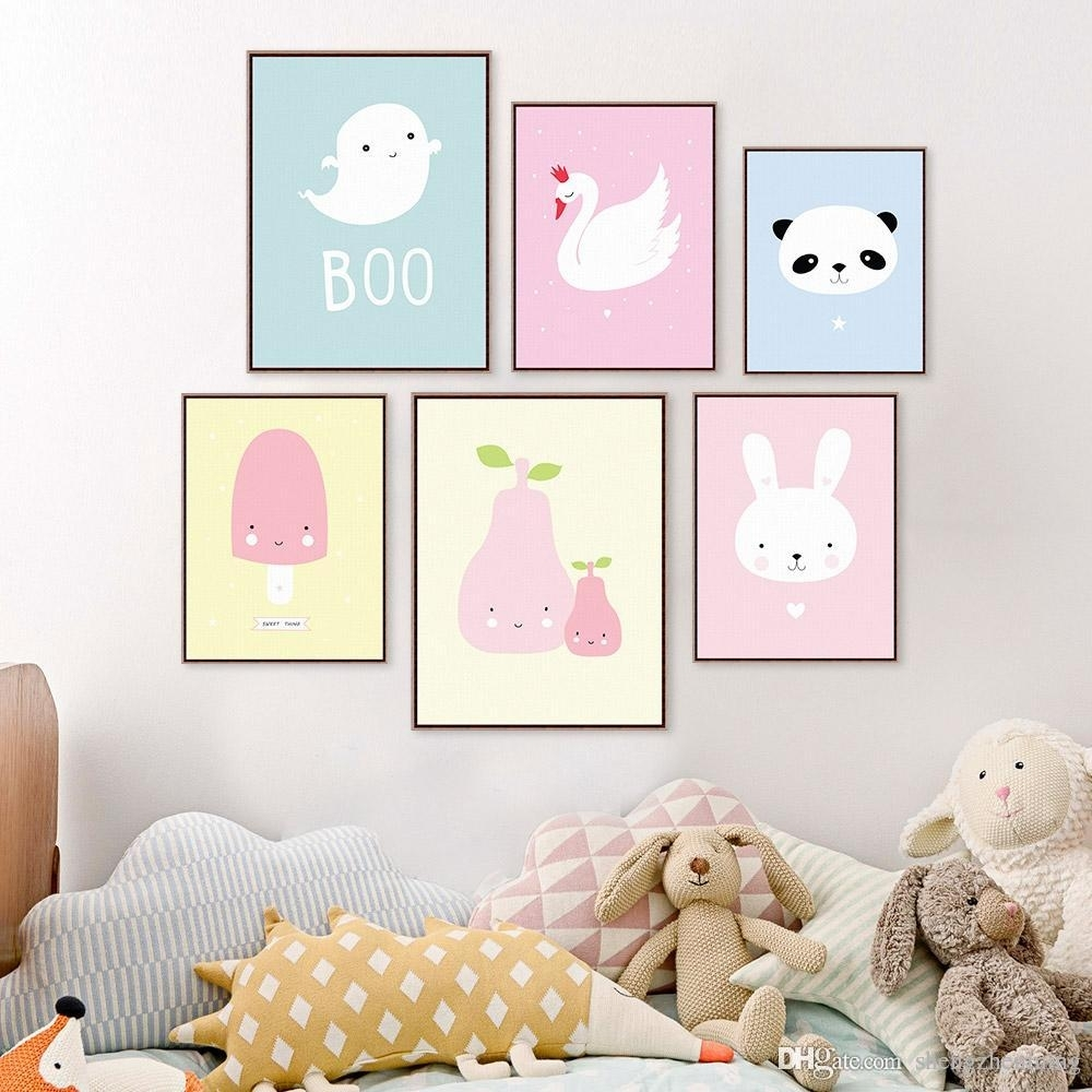 2018 Kawaii Animal Panda Poster Print A4 Modern Nordic Cartoon Regarding Most Recently Released Modern Nursery Canvas Wall Art (View 1 of 15)