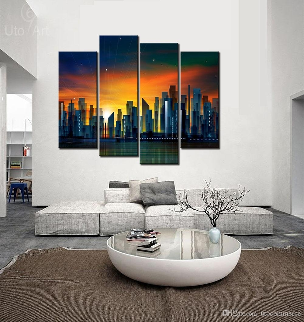 2018 Modern Art Wall Decor Painting Sunset City Abstract Canvas With Regard To 2018 Dubai Canvas Wall Art (View 2 of 15)