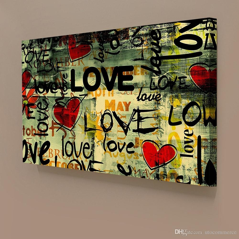 2018 Modern Classical Graffiti Style Love Giclee Printing On In Current Graffiti Canvas Wall Art (Gallery 12 of 15)