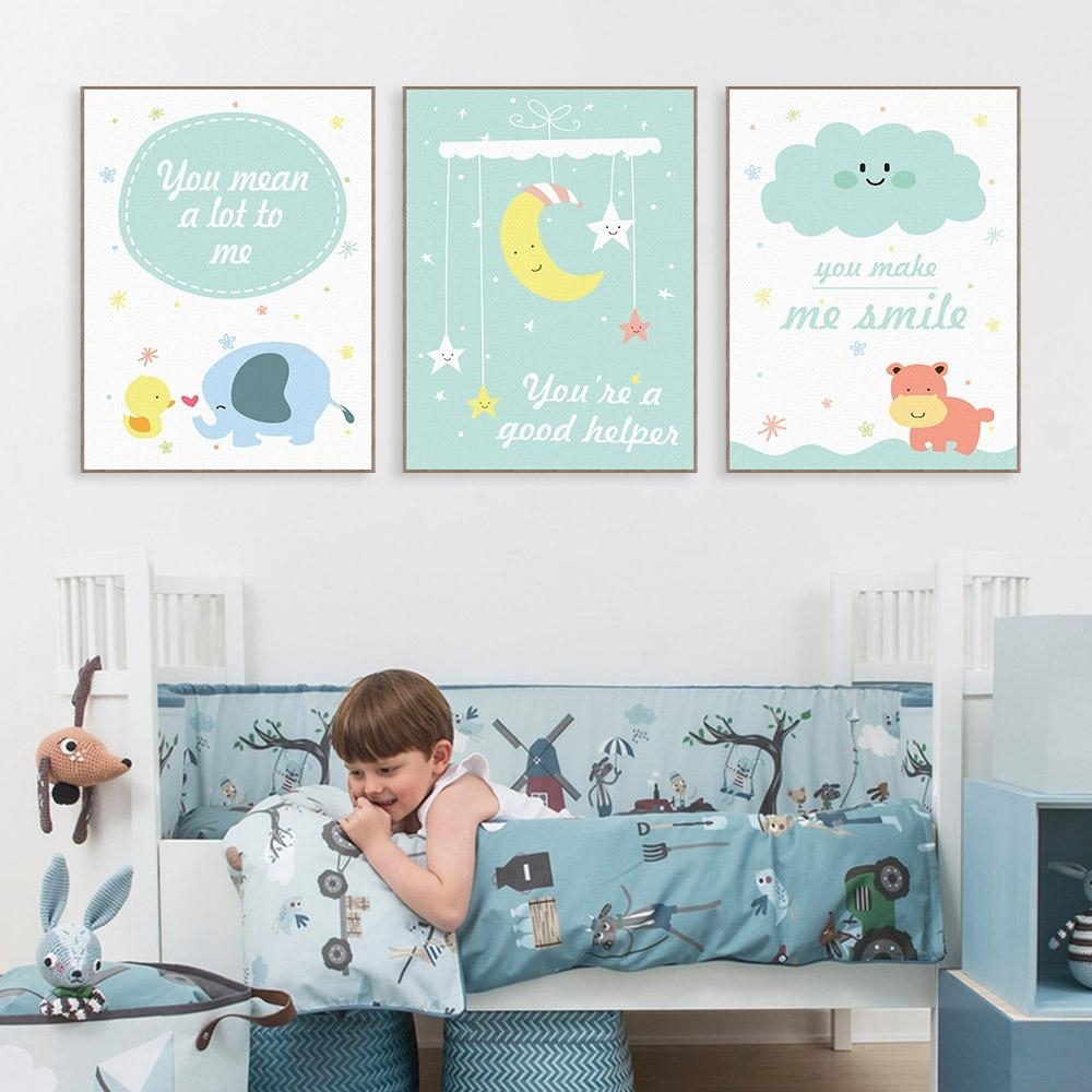 2018 Modern Kawaii Animals Hippo Moon Quotes Canvas A4 Art Print Throughout Most Current Modern Nursery Canvas Wall Art (View 2 of 15)