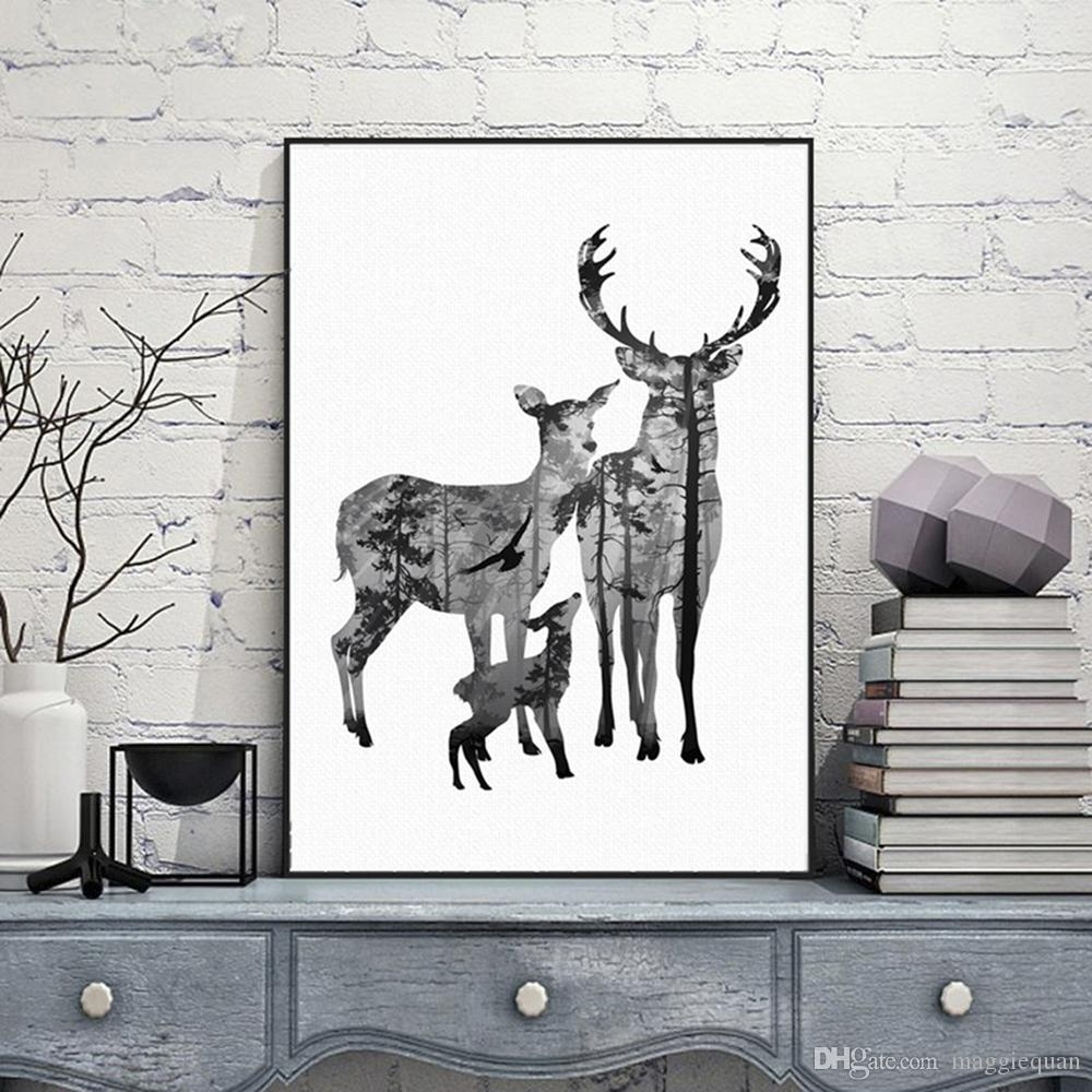 2018 Nordic Vintage Deer Head Silhouette Posters Black White With Most Recent Fabric Animal Silhouette Wall Art (Gallery 10 of 15)