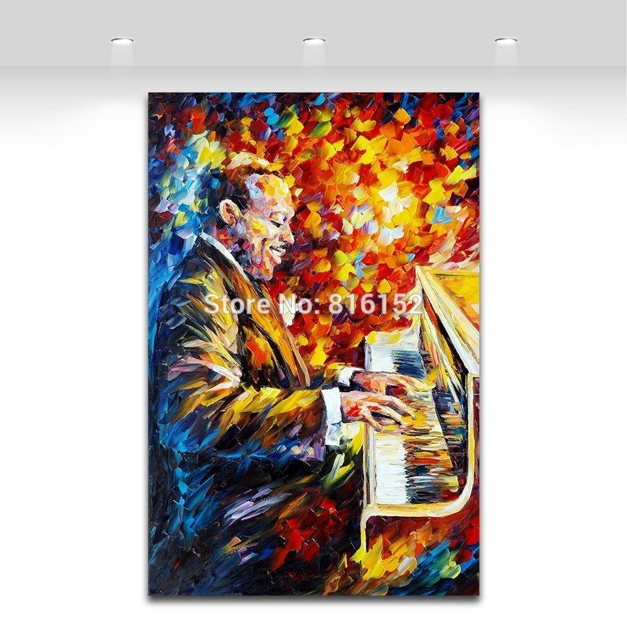 2018 Palette Knife Painting Jazz Music Figure Trumpet Guita Soul For Most Popular Jazz Canvas Wall Art (View 3 of 15)