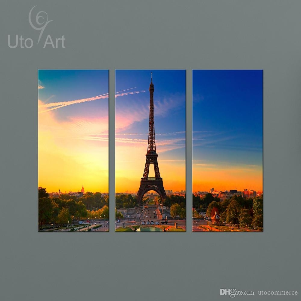 2018 Paris Landscape Painting The Eiffel Tower Canvas Wall Art Regarding Latest Eiffel Tower Canvas Wall Art (View 2 of 15)