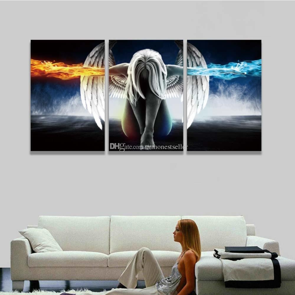 2018 Printed 3 Panel Canvas Wall Art Angel Wings Painting Within Latest Anime Canvas Wall Art (View 1 of 15)