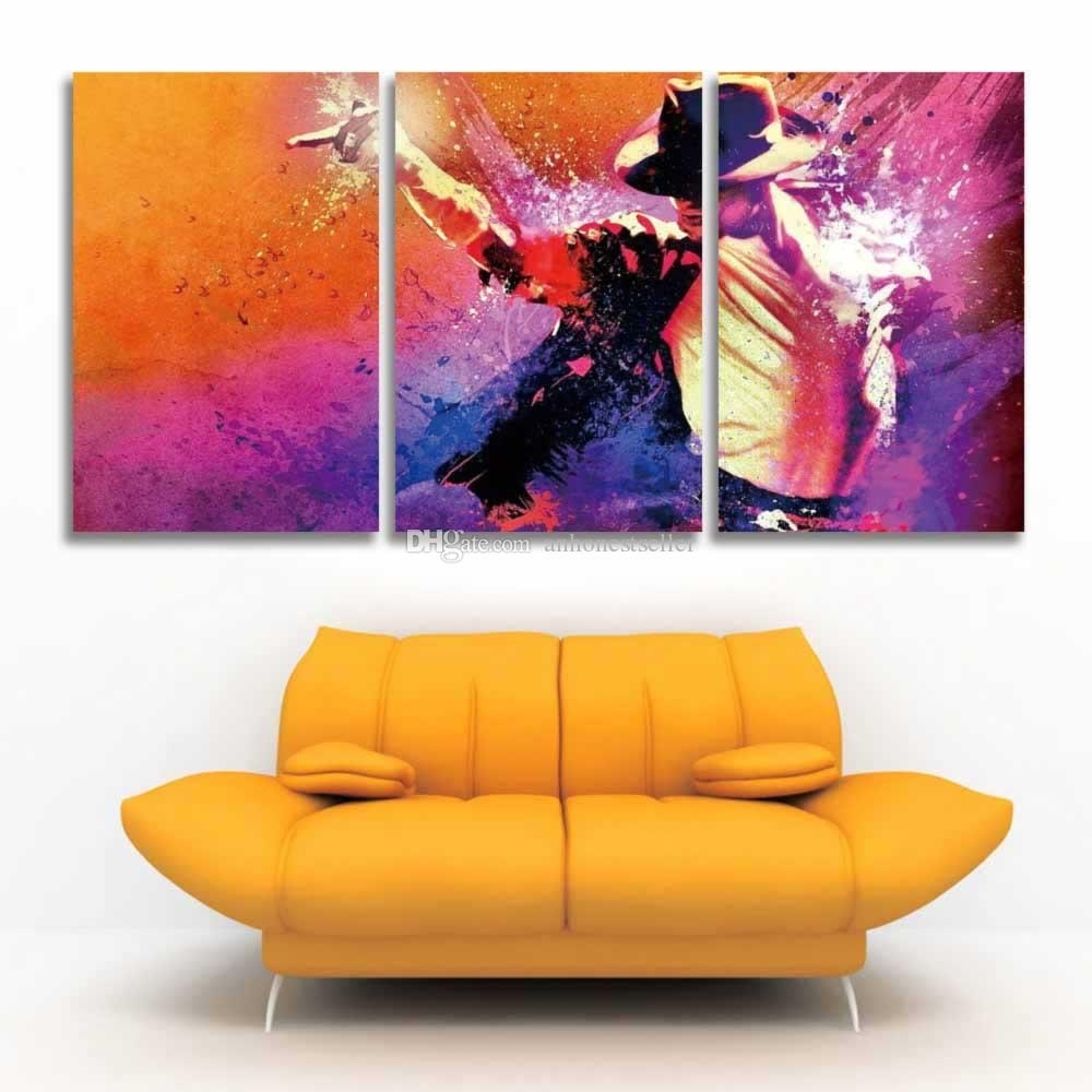 2018 Printed 3 Panel Canvas Wall Art Prints Michael Jackson Pertaining To 2018 Michael Jackson Canvas Wall Art (View 7 of 15)
