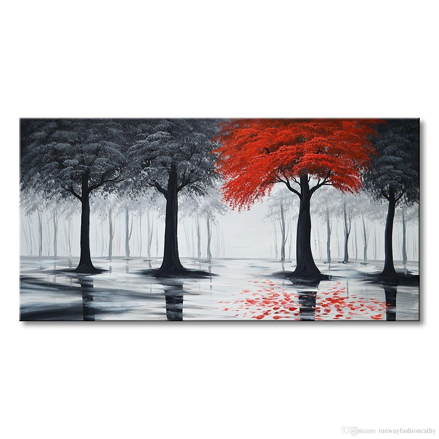 2018 Pure Handmade Large Canvas Oil Painting Modern Black And Red Within Newest Large Red Canvas Wall Art (Gallery 9 of 15)