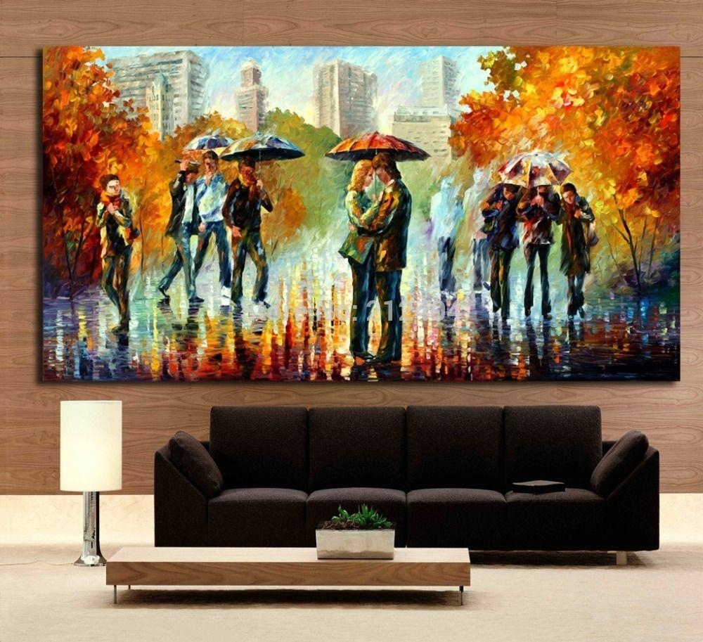2018 Rainy Embrace In The Street Romantic Lover Modern Palette Intended For Newest Oil Paintings Canvas Wall Art (View 4 of 15)