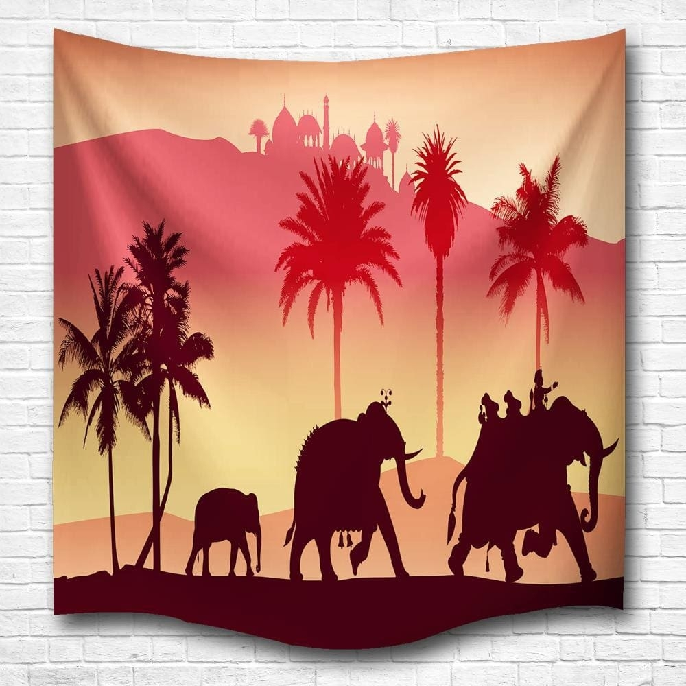 2018 Silhouette Elephants 3D Digital Printing Home Wall Hanging With Regard To Most Popular Fabric Animal Silhouette Wall Art (View 2 of 15)
