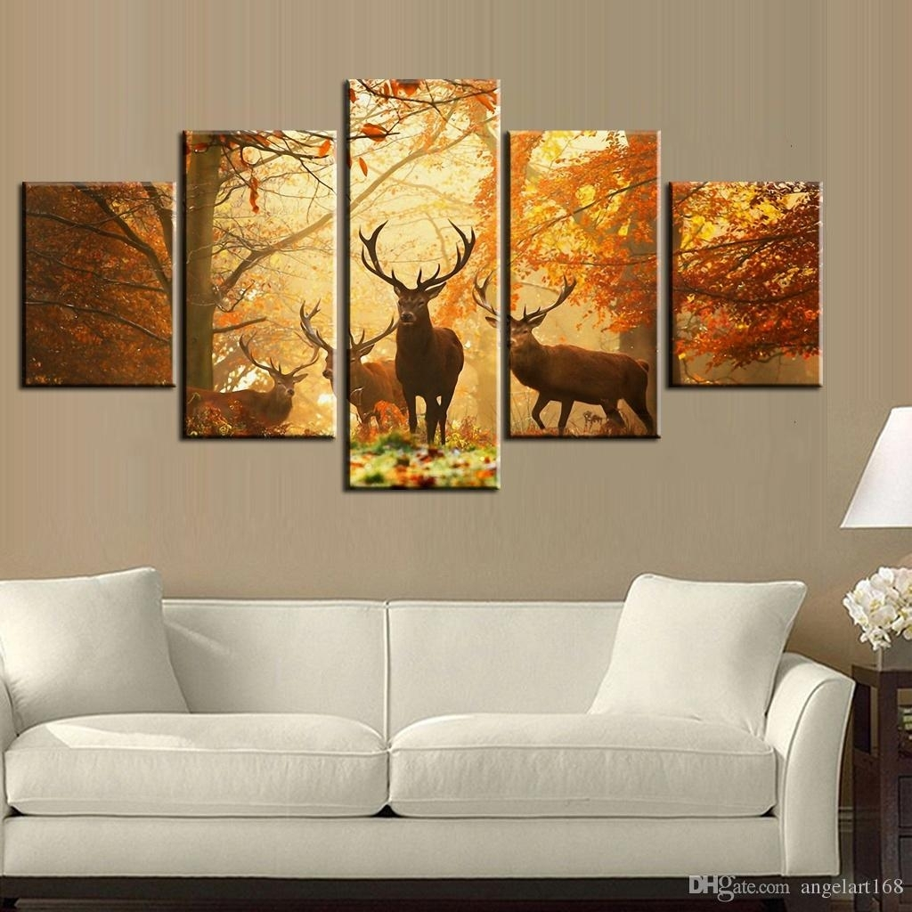 2018 Sunset Golden Deer Wall Art Oil Painting On Canvas No Frame With Regard To Newest Deer Canvas Wall Art (View 3 of 15)